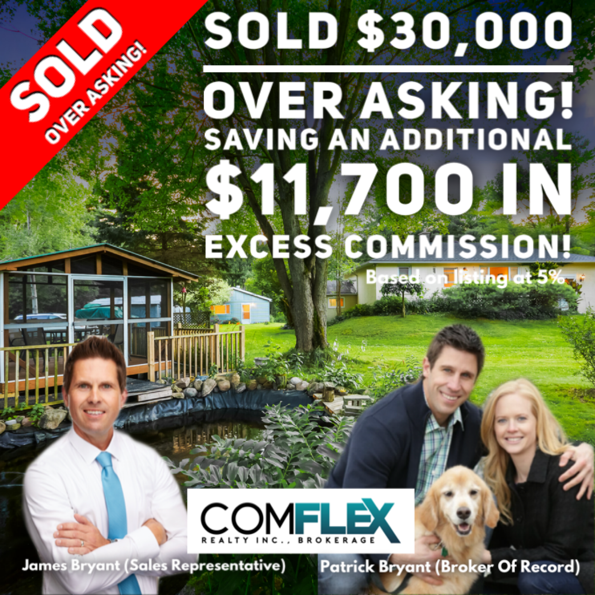 SOLD $30,000 OVER ASKING!  SAVING $11,700 IN EXCESS COMMISSION!